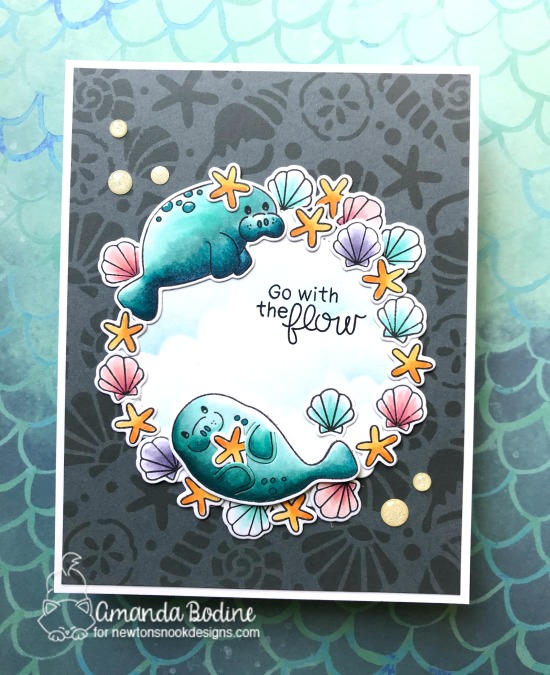 Manatee Card by Amanda Bodine | Manatee-rific Stamp Set by Newton's Nook Designs #newtonsnook #handmade