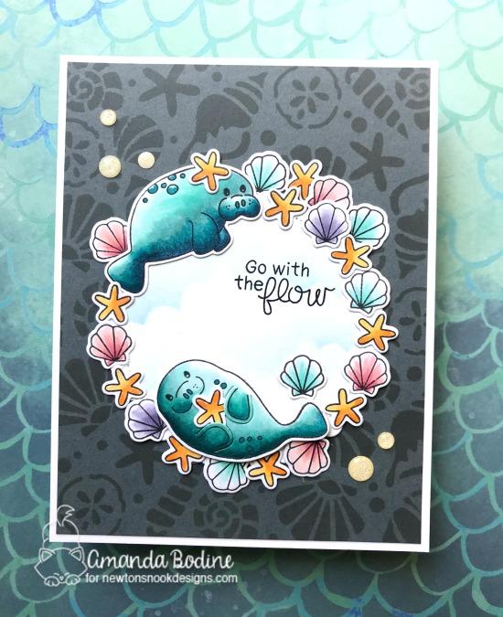 Manatee Card by Amanda Bodine | Manatee-rific Stamp Set by Newton's Nook Designs #newtonsnook #handmade