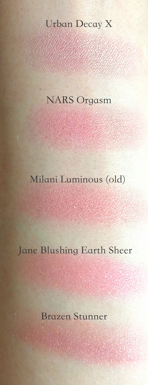 Here is the comparison swatches with NARS Orgasm.