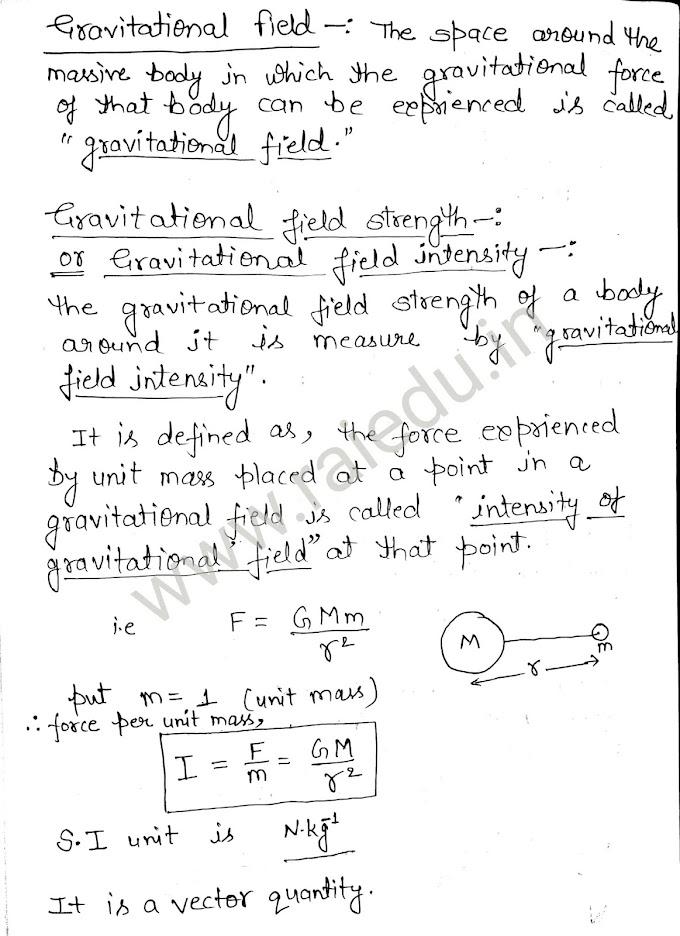 Gravitational field | Gravitational field strength | Intensity of gravitational field