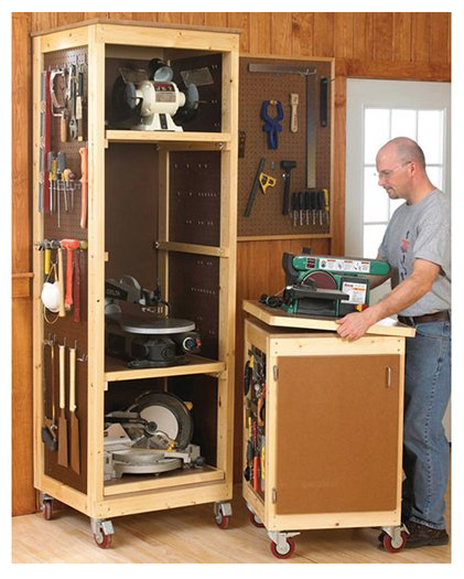 12 Super Simple Workbenches You Can Build: The Project Lady: Pegboard Tool Storage Cabinet Project