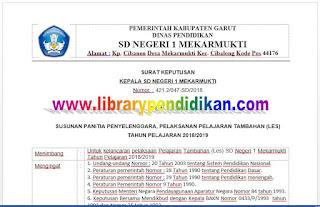 SK Kepala Sekolah Tentang LES Kelas VI SD, http://www.librarypendidikan.com/