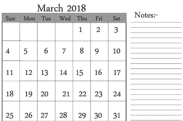 Blank Calendar for March 2018, 2018 March Printable Calendar, March 2018 Calendar Printable, March 2018 Blank Calendar, March 2018 Holiday Calendar,  March 2018 calendar