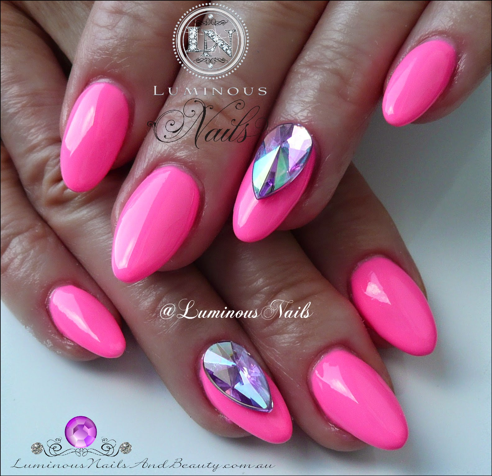Hot Pink Nails With Rhinestones | Best Nail Designs 2018