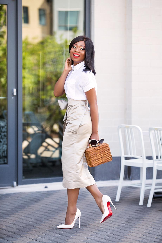 summer neutral, white pumps and wrap skirt, www.jadore-fashion.com