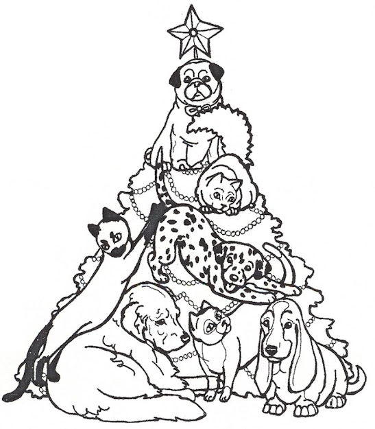 Coloring Pages Christmas Tree And Dogs