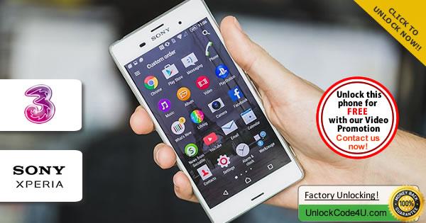 Factory Unlock Code Sony Xperia Z3 from Three Network