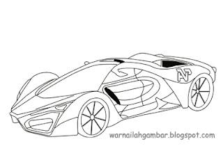 Mewarnai Mobil Sport Ferrari 1 Mewarnai Gambar