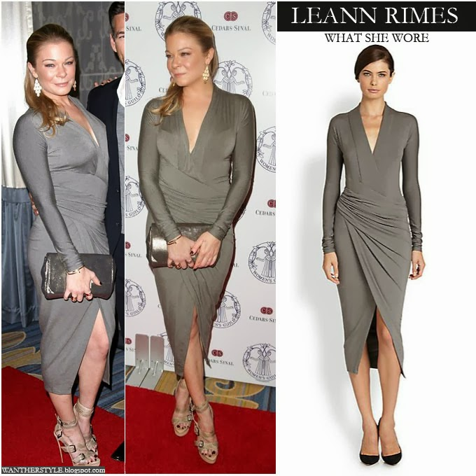 444e15cd0af8 LeAnn Rimes in grey long sleeve wrap dress by Donna Karan Want Her Style