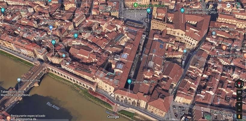 Mapa Galeria Uffizi - Diário de bordo: 2 dias em Florença