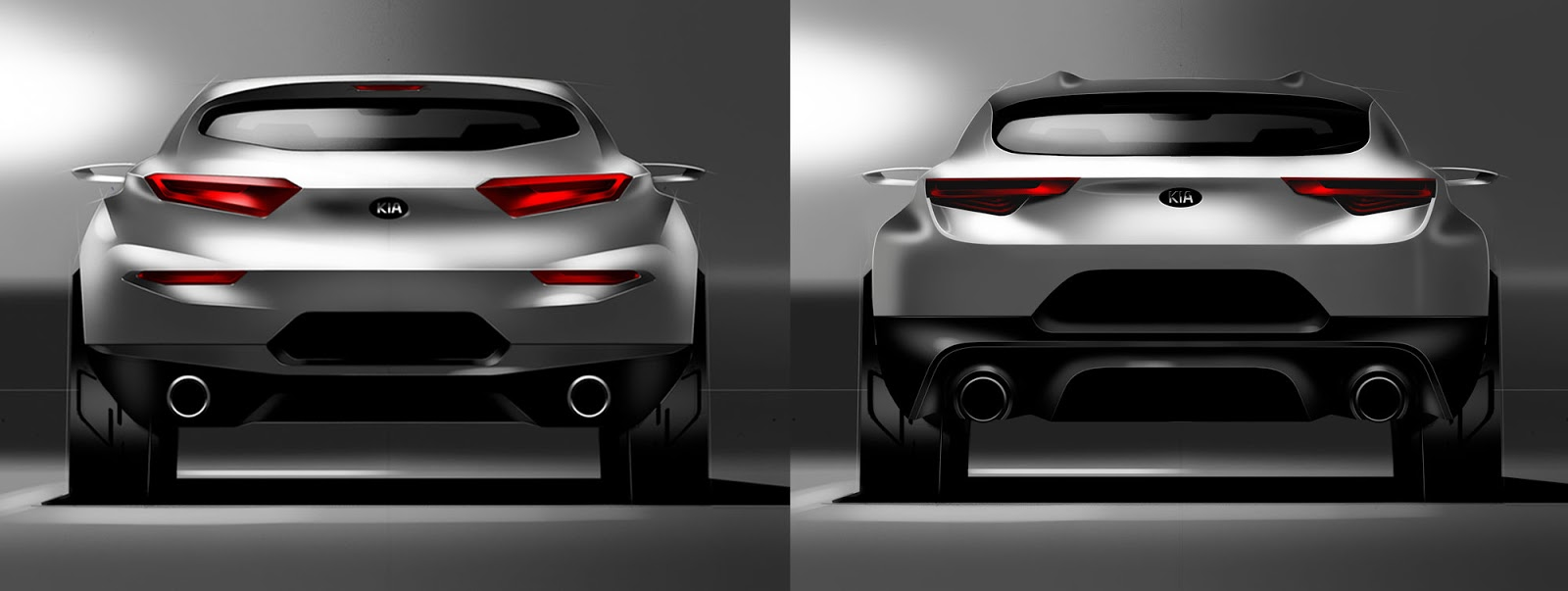 Kia Stonic sketch - two styling options for the rear