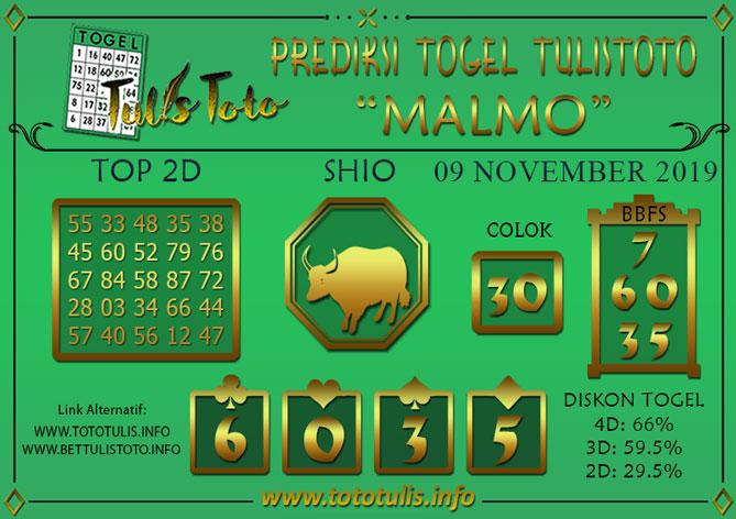 Prediksi Togel MALMO TULISTOTO 09 NOVEMBER 2019