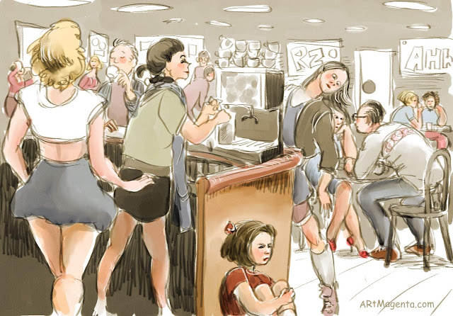 On the cafe, is a drawing by Artmagenta