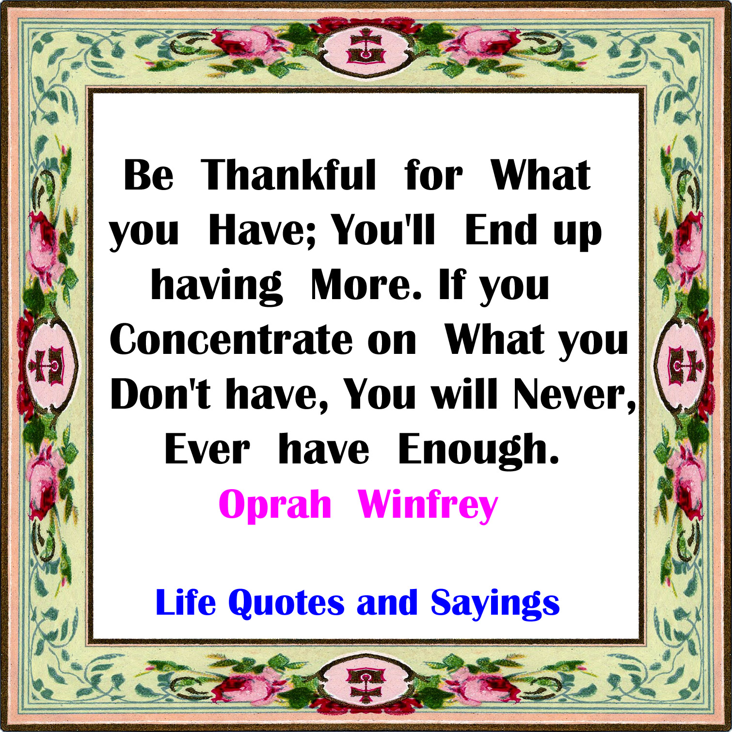 Life Quotes And Sayings Thankful For What You Have And You Will