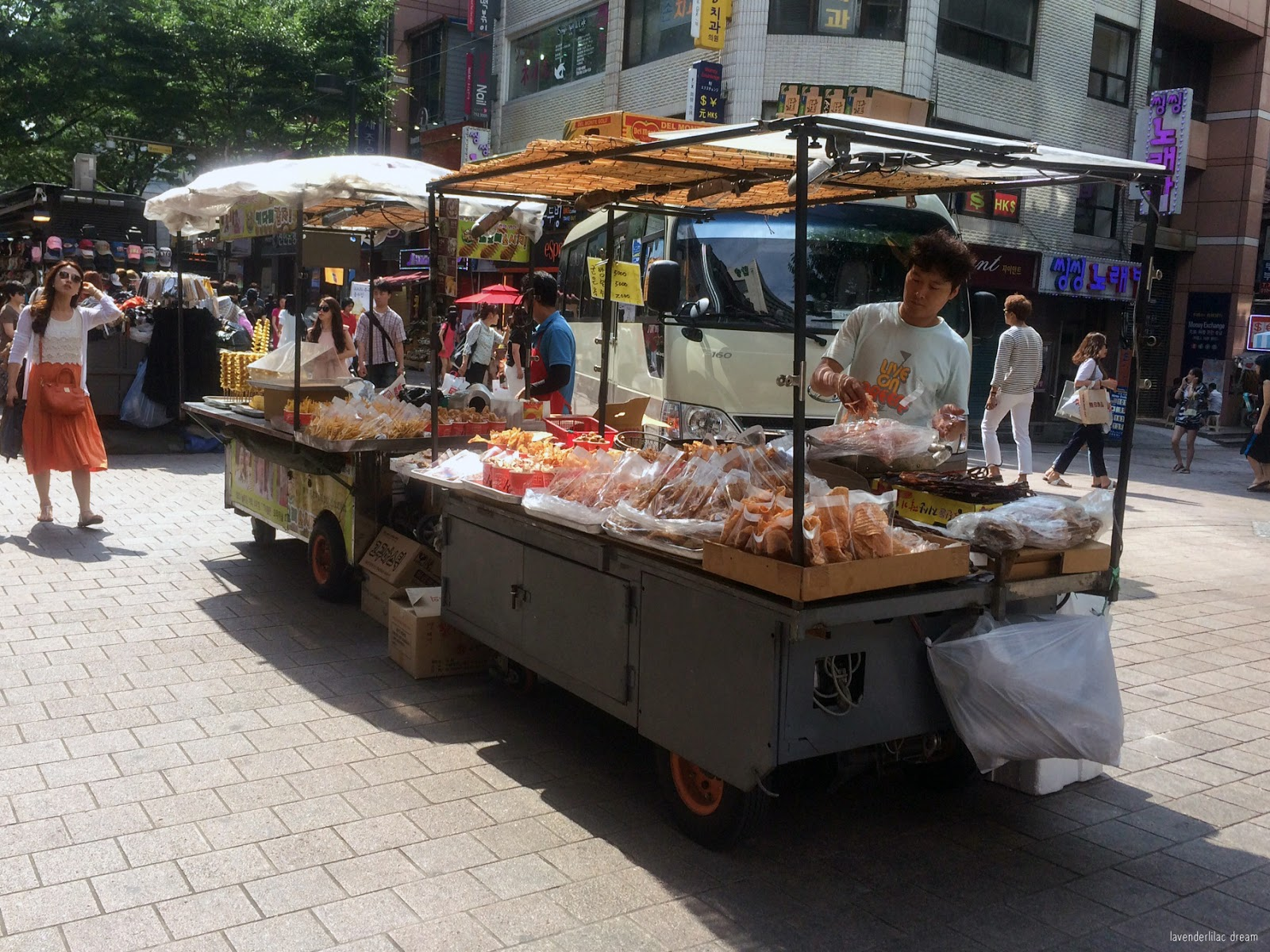 South Korea, Seoul, Myeongdong, YISS 2014, Squid food stand