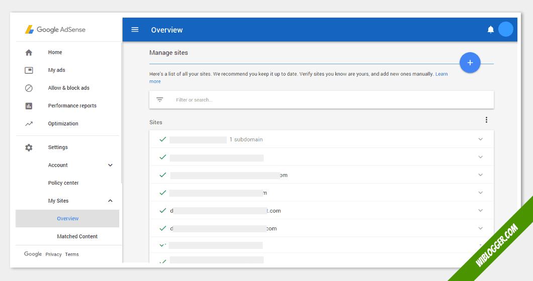 fungsi menu-menu adsense - situs saya