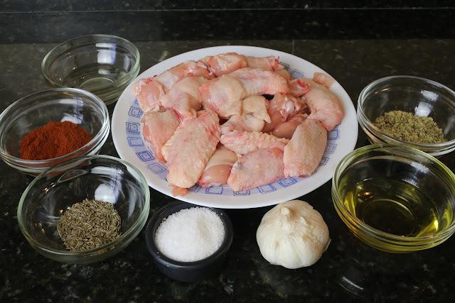 Ingredientes para alitas de pollo adobadas