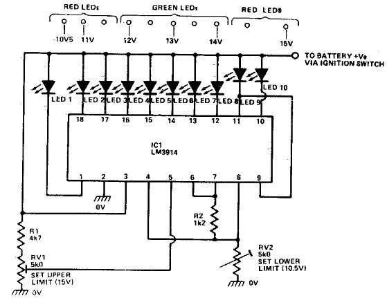 LM3914 Bassed Car Battery Monitor Circuit With Explanation