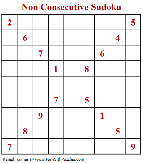 Non Consecutive Sudoku Puzzle (Daily Sudoku League #194)