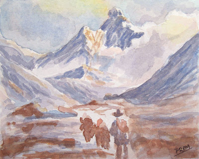 Mountain Scene in Watercolor