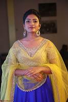 Actress Eesha in Yellow Choli Blue Ghagra at Darshakudu music launch 058.JPG