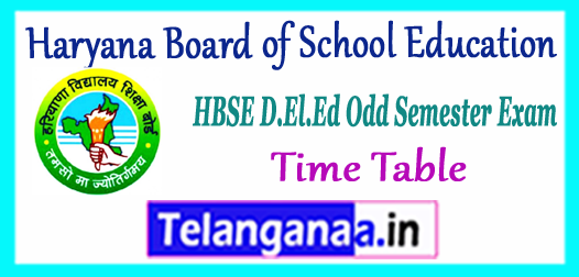 HBSE Haryana Board of School Education D.El.Ed 1st 3rd Semester Time Table 2018 Download