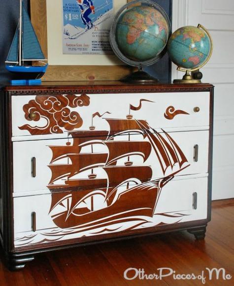 Large Ship Decal on Dresser
