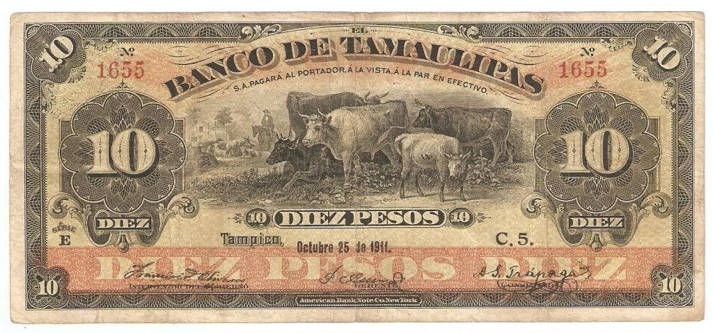 Mexico Banknotes 10 Pesos Bank Note El Banco De Tamaulipas Coins And Banknotes