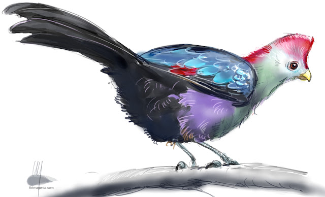 Red-crested turaco bird painting by Artmagenta