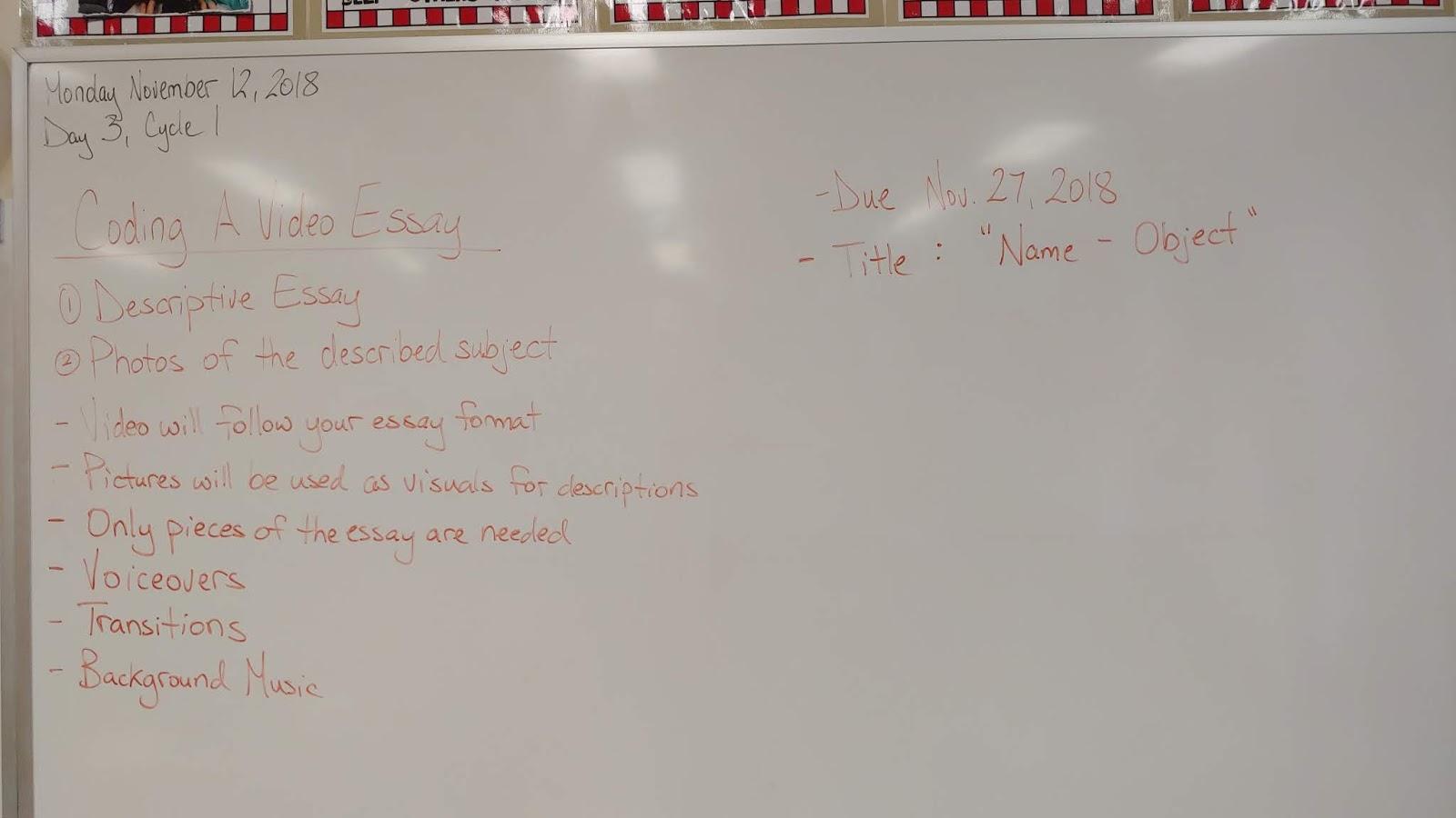 Mr Watts Grade A Classroom Blog Coding A Video Essay Assignment Coding A Video Essay Assignment