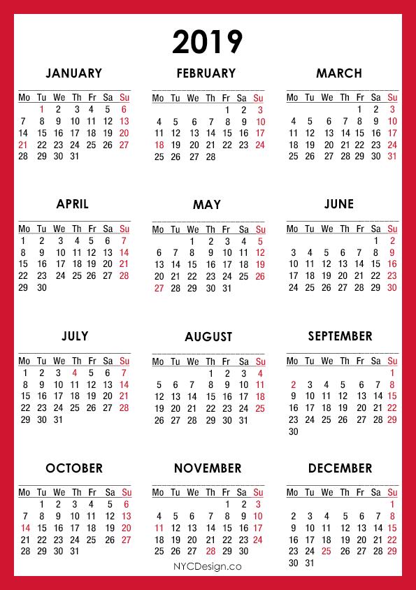Nyc Calendar 2019 New York Web Design Studio, New York, NY: 2019 Calendar