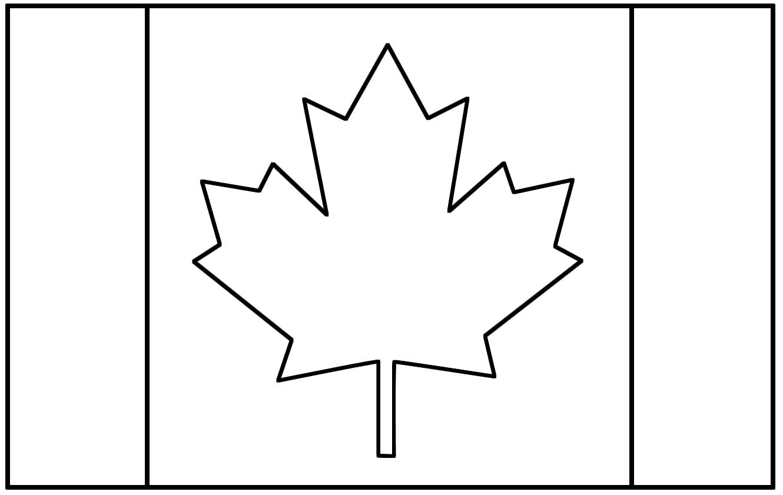 Page de coloriage grand format  imprimer le drapeau du Canada avec sa feuille d érable  colorier en rouge