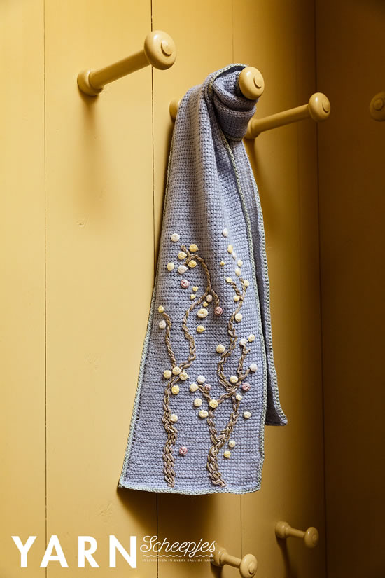 Almond Blossom Scarf, Van Gogh inspired crochet. Design by Miss Neriss, photo by Scheepjes | Happy in Red