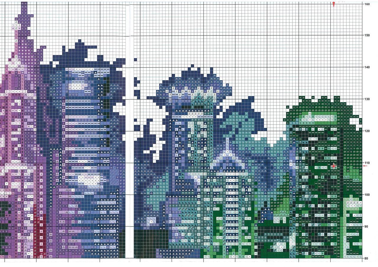 Вышивка крестом ночной город схема фото 233