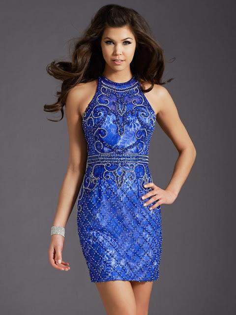 royal blue halter neck homecoming dress