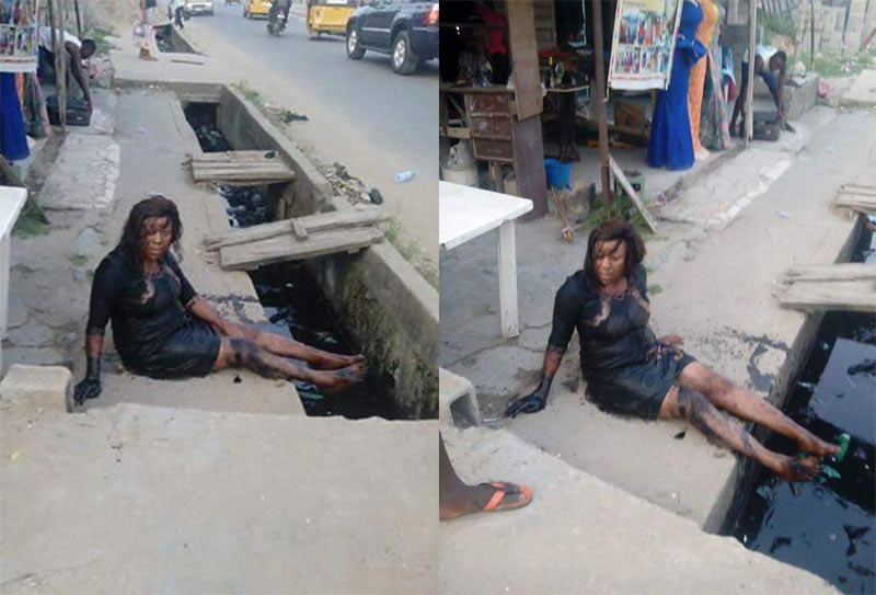 See what happened to lady who tripped her high heels and fell into gutter