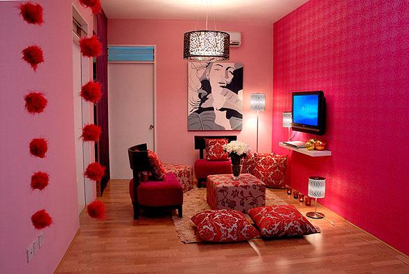 Dekorasi Ruang Tamu Berwarna Pink