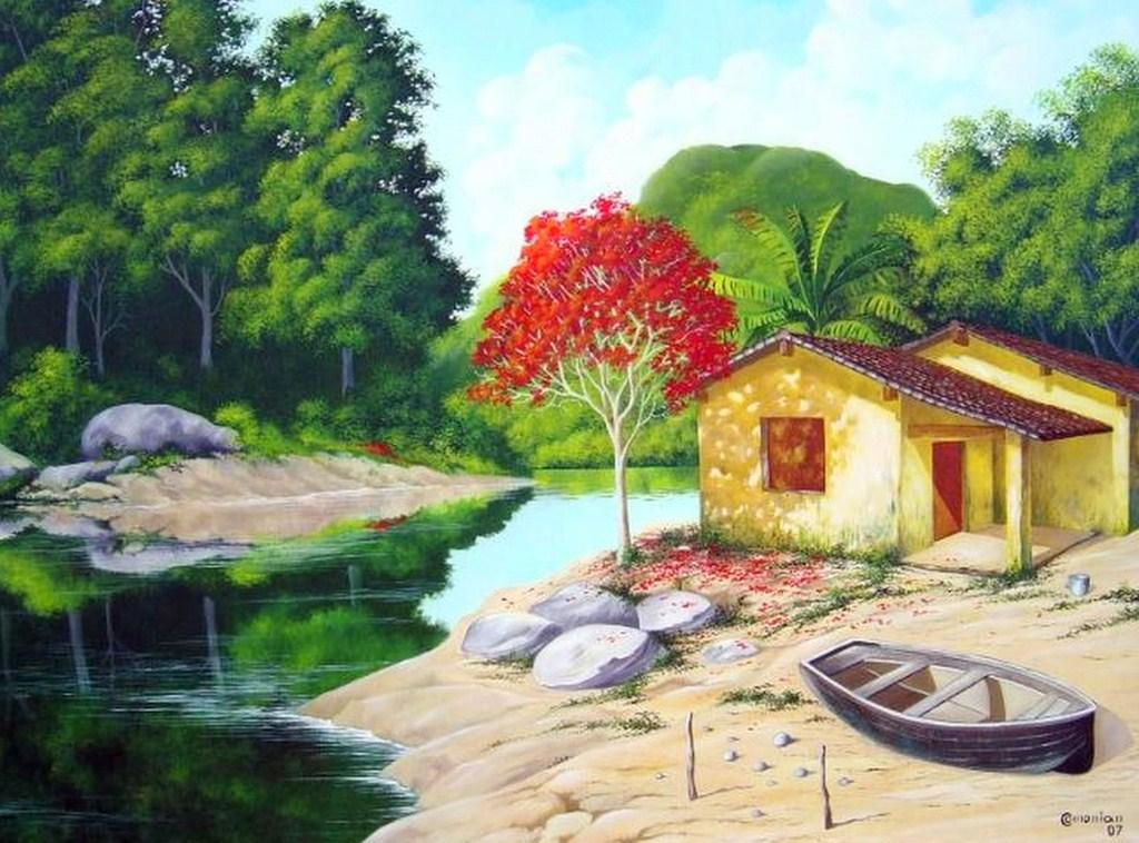 Cuadros modernos pinturas y dibujos pintura costumbrista del brasil paisajes al leo - Cuadros de vacas ...