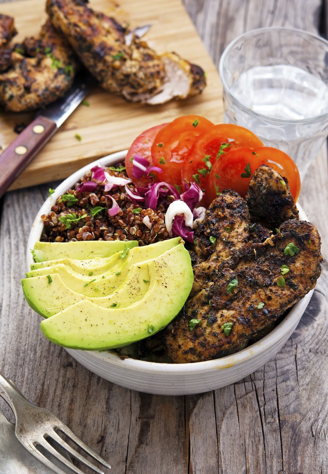 California Chicken Avocado and Red Quinoa Bowls