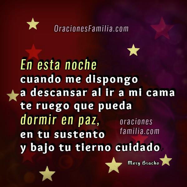 Oración cristiana de la noche para dormir protegido y en paz, frases de oración, imágenes cristianas con oraciones por Mery Bracho.