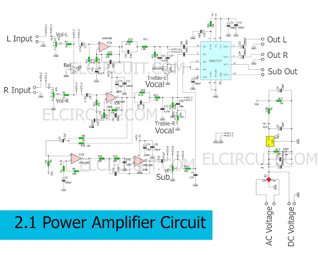 Circuit Schematic of 2.1 Power Amplifier using TDA7377