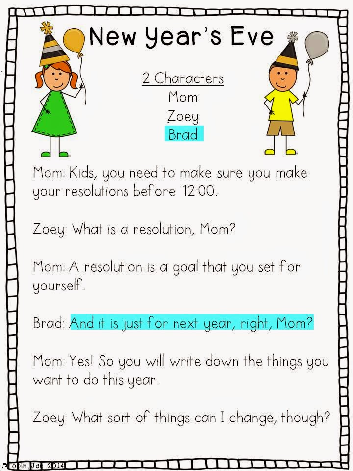 New Years Ideas in the classroom- readers theater