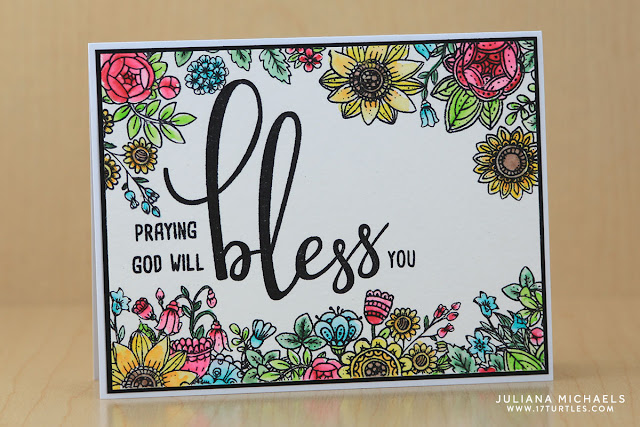 Bless You Card with watercolor by Juliana Michaels featuring Honey Bee Stamps