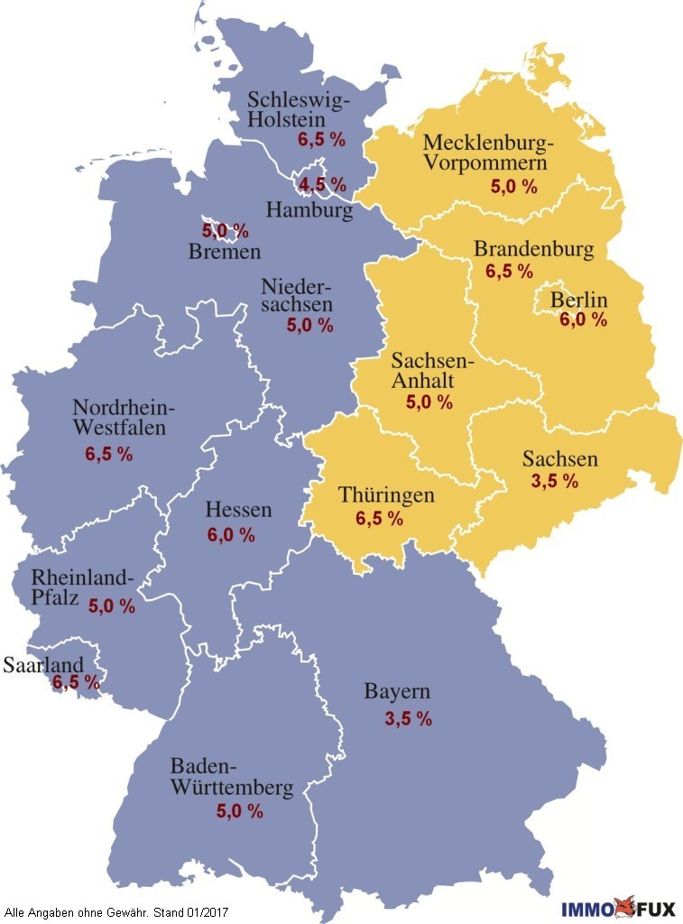 Property Investment In Germany Property Sales Tax Stamp Duty In - Germany map 2017