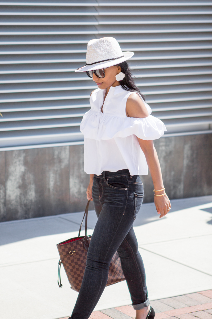Cold Shoulder Collared Shirt