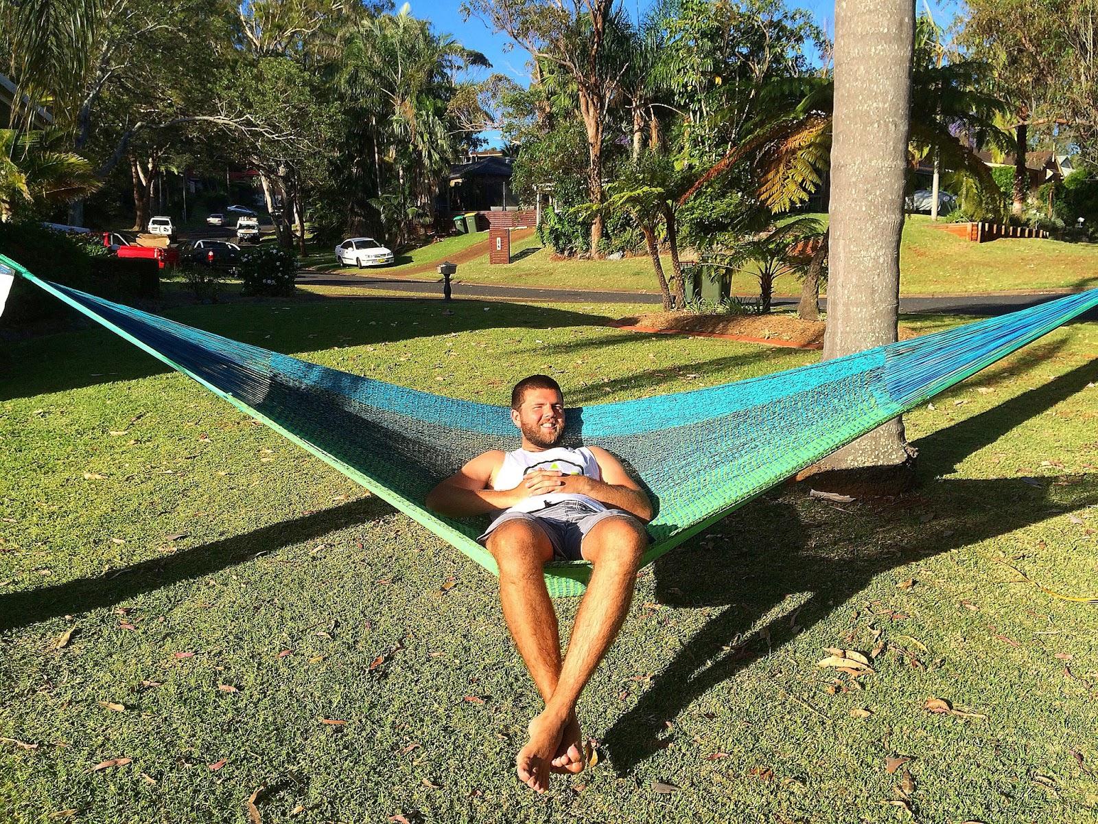 Male relaxing in West Coast Hammocks