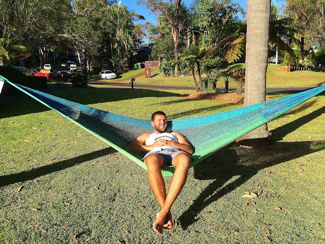 Male relaxing in West Coast Hammocks