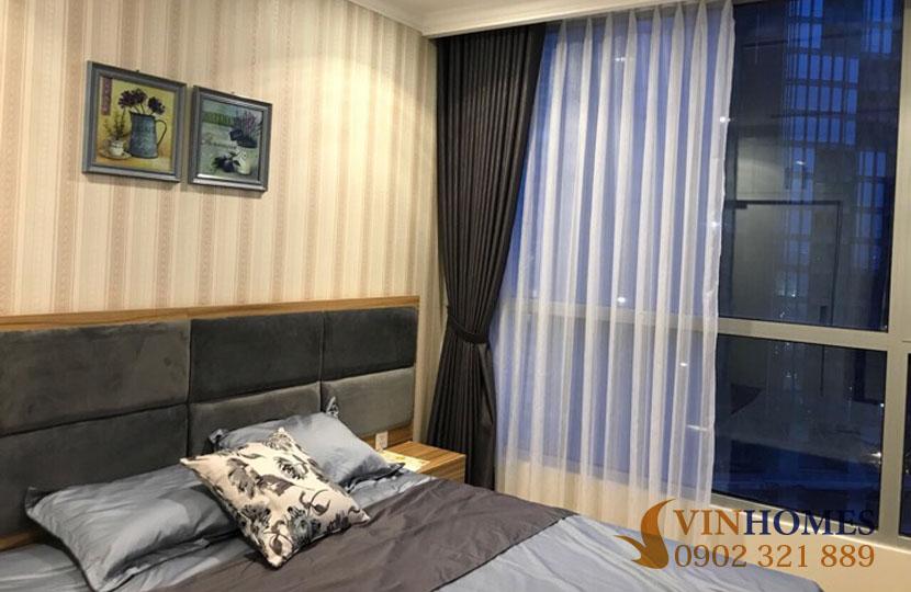 Landmark 1 - Vinhomes cho thuê 3 phòng ngủ full nội thất bao phí | giường ngủ bên cửa sổ
