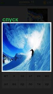 человек осуществляет спуск с горы на лыжах