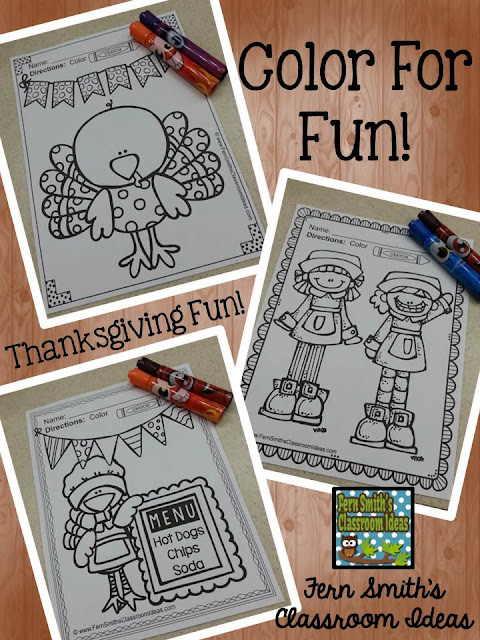 Thanksgiving Coloring Pages Fern Smith's Classroom Ideas